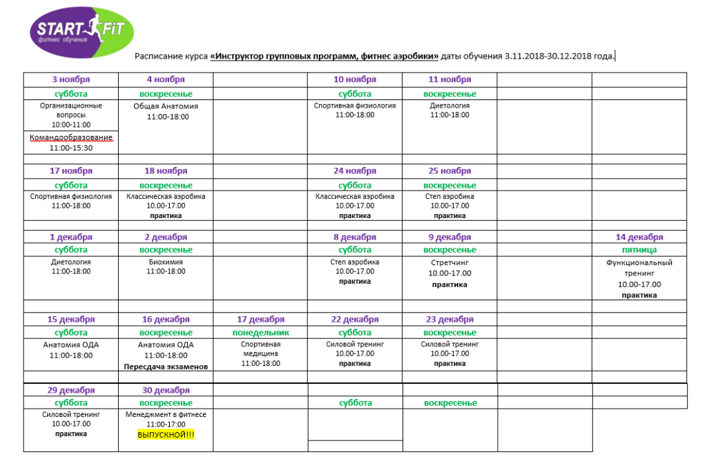 Инструктор групповых программ - курс выходного дня